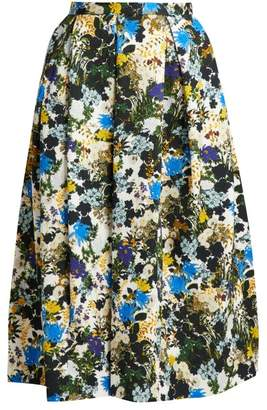 Erdem Ina Mariko Meadow Print Floral Skirt - Womens - Blue Print