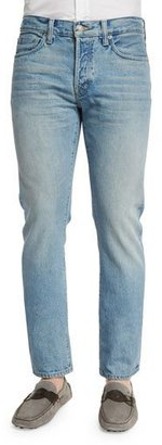 TOM FORD Straight-Fit Light Wash Denim Jeans, Light Blue $680 thestylecure.com