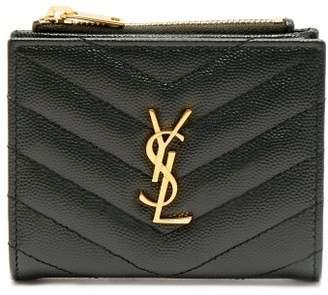 Saint Laurent Monogram Quilted Leather Wallet - Womens - Dark Green