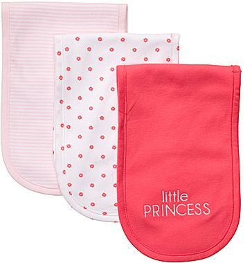 Carter's 3-pk. Pink and Poppy Burp Cloths - Girls