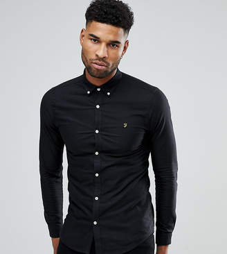 Farah TALL Skinny Fit Button Down Oxford Shirt In Black