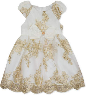 Rare Editions Baby Girls Embroidered Mesh Dress & Panty