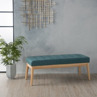 Noble House Sadie Tufted Fabric Bench, Dark Teal