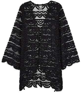 Pilyq Black Pompom-embellished Lace Kimono