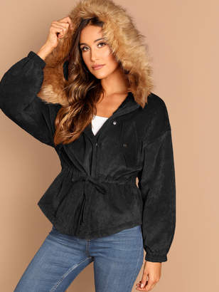 Shein Drawstring Waist High Low Coat With Faux Fur Hoodie