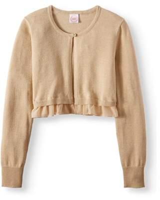 Wonder Nation Metallic Ruffled Button Down Cardigan Sweater (Little Girls And Big Girls)