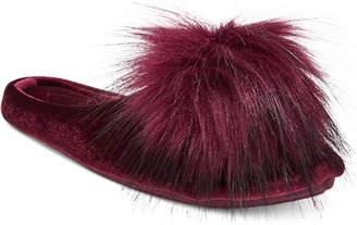 INC International Concepts I.n.c. Pom Pom Velvet Slippers, Created for Macy's