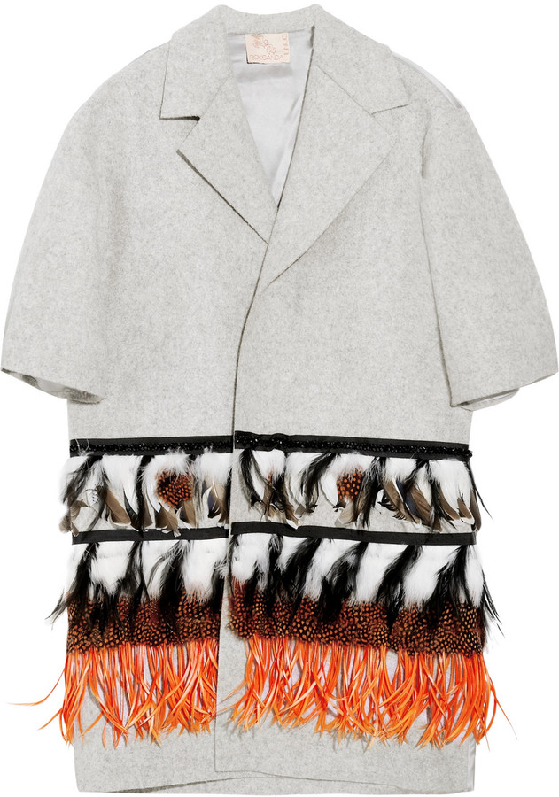 Roksanda Ilincic Feather-embellished wool-felt coat