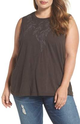 Lucky Brand Embroidered Leaf Ruched Back Top