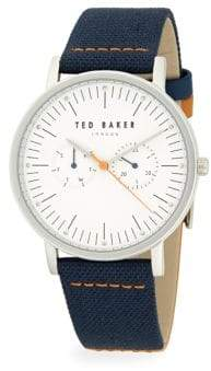 Ted Baker Stainless Steel Embossed Textile & Leather Strap Watch