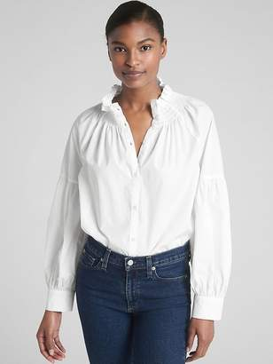 Gap Smocked Ruffle-Neck Blouse in Poplin
