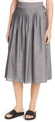 Vince Fine Stripe Midi Wrap Skirt, Black/Off-White