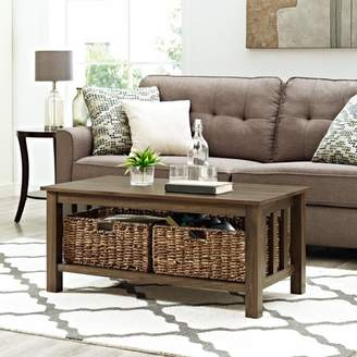 """Manor Park 40"""" Traditional Wood Storage Coffee Table with Totes - Dark Walnut"""