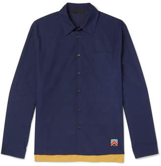 Prada Rubber-Appliquéd Colour-Block Tech Cotton-Blend Shirt