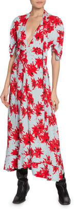 Proenza Schouler Floral-Splatter-Print Georgette V-Neck Dress