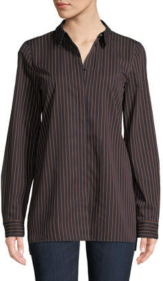 Lafayette 148 New York Brayden Spirited Stripe Cotton Blouse