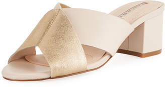 Elie Tahari Dover Mixed Leather Sandal, Camel
