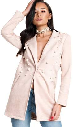 AERIN IKRUSH Woman's Gorgeous Faux Suede Long-Lined Embellished Jacket