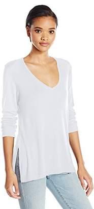 Michael Stars Women's Slub 3/4 Sleeve Vee Neck Tunic with Side Slit