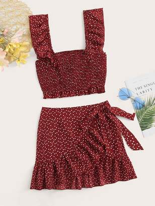 Shein Plus Ruffle Trim Shirred Crop Top & Wrap Knot Skirt Set
