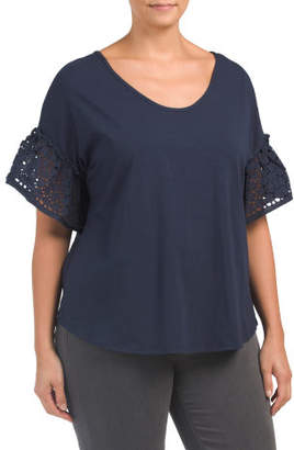 Plus Knit Top With Eyelet Sleeves