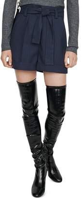 Maje Daia Pleated Pinstriped Shorts
