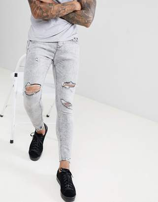 Bershka Super Skinny Jeans In Gray With Knee Rips