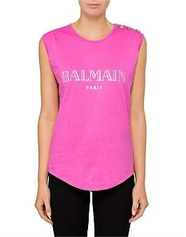 Balmain Short Sleeve Logo Tank