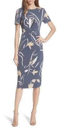 DVF Diane von Furstenberg Print Body-Con Midi Dress