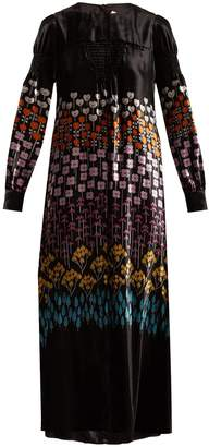 Flower Stem-print velvet gown
