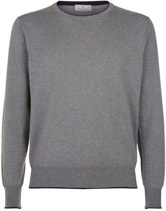 CANALI Suede trim cotton jumper VWBSPT