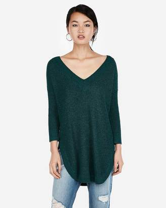 Express V-Neck Circle Hem Tunic Sweater