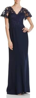 Tadashi Shoji Lace-Overlay Crepe Gown