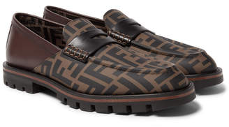 Fendi Logo-Print Rubber and Leather Loafers