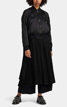 Noir Kei Ninomiya Women's Embroidered Satin & Pleated Georgette Bomber Jacket - Black
