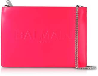Balmain Neon Fuchsia Shiny Leather Domaine Clutch W/embossed Logo
