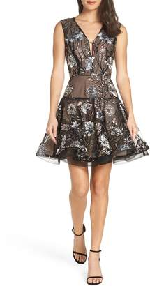 Bronx and Banco Tiara Sequin Embroidered Mesh Party Dress