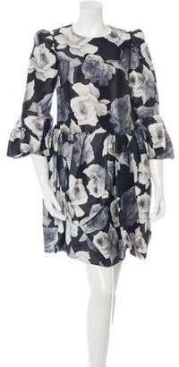 Lanvin Rose Print Mini Dress