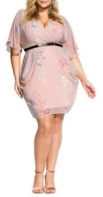 City Chic Plus Blushing Vine Belted Dress