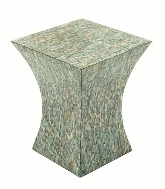 DecMode Decmode Contemporary 19 X 15 Inch Wood and Shell-Tiled Accent Table, Multicolor
