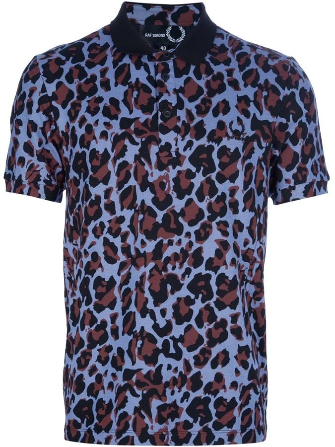Raf Simons Fred Perry leopard print polo shirt
