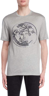 Versace Grey Logo Embroidery Tee