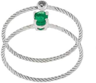 Wouters & Hendrix Gold Emerald & Diamond set of two rings