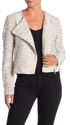 Bagatelle Asymmetrical Zip Boucle Knit Moto Jacket