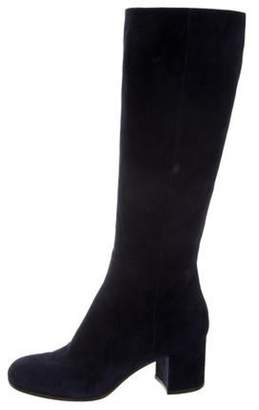 Gianvito Rossi Suede Knee High Boots Navy Suede Knee High Boots