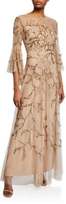 Aidan Mattox Flutter-Sleeve Beaded Tulle Illusion Gown