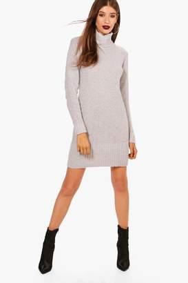 boohoo Jessica Roll Neck Mini Jumper Dress