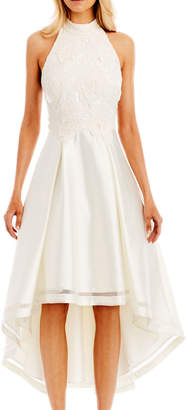 Nicole Miller New York High-Low Cocktail Dress with 3D-Lace Bodice, Ivory