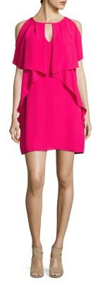 Laundry by Shelli Segal Ruffled Cold-Shoulder Shift Dress $168 thestylecure.com