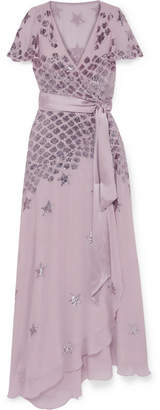 Temperley London Starlet Embellished Georgette Wrap Gown - Lilac